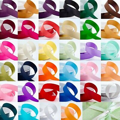 1m Cut Length Double Sided Satin Ribbon 3mm - 38mm Width Craft Sew 43 Colours • 1.55£