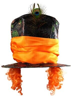 £7.49 • Buy Deluxe Mad Hatter Top Hat Orange With Hair Fancy Dress Costume Accessory