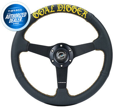 $184 • Buy NEW NRG GOAL DIGGER Steering Wheel 1  Deep Perforated Leather RST-037MB-PR-GD