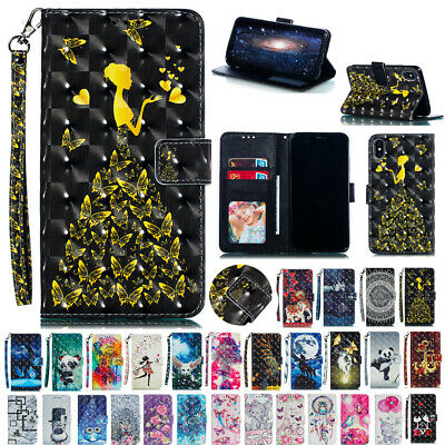 AU16.55 • Buy For IPhone 12 Pro Max 6S 7 8Plus XR XS Max Patterned Leather Wallet Cover Case