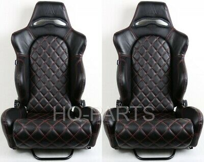 $279.99 • Buy 2 Tanaka Black Pvc Leather Racing Seat Reclinable Red Diamond Stitch For Mustang