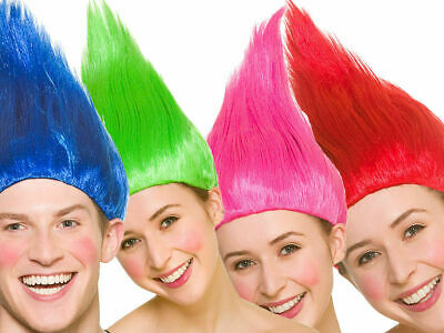 Adult TROLL WIGs Fancy Dress Elf Pixie Gnome The Thing Goblin Festival Party  • 8.95£