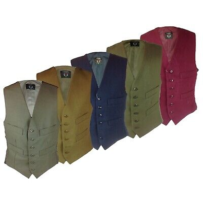 £29.99 • Buy Mens 100% Cotton Moleskin Waistcoat Satin Back Lining Adjustable Buckle Country