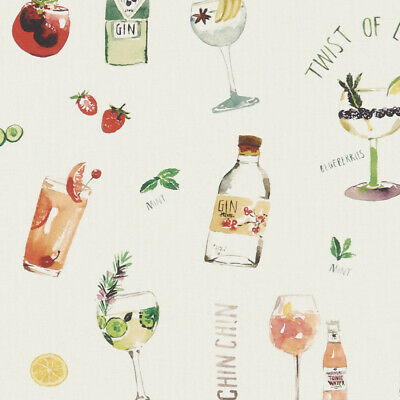 £7.99 • Buy Clarke And Clarke Happy Hour Gin And Tonic Cream 100% Digital Cotton Fabric