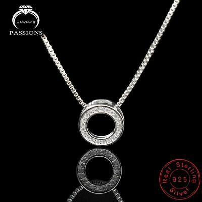 Womens 925 Sterling Silver Karma Crystal CZ Circle Ring Pendant Necklace Boho • 7.99£