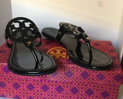 f100c2cebaa90 New Tory Burch Miller Sandals Black Patent Leather Shoes Size 8M — • 145.19
