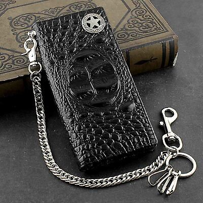 Mens Genuine Biker Leather Wallet Purse With Safe Pants Chain • 18.46£