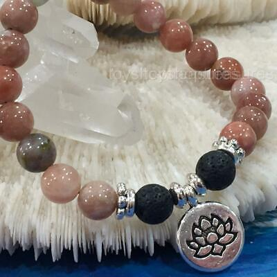 AU14.95 • Buy Aromatherapy Diffuser Essential Oil Lava Bracelet Rhodonite Gem Lotus Flower