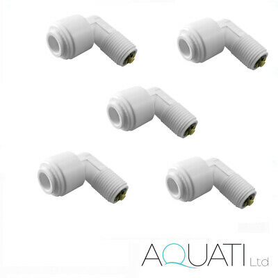 £11.95 • Buy 5x Elbow Quick Connector 1/4  Push Fit Tube X 1/8  Thread Male Check Valve RO