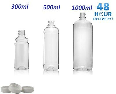 £10.79 • Buy Clear PET Plastic Bottles With White Screw Caps  Drinks Bottles Home Brew Beer