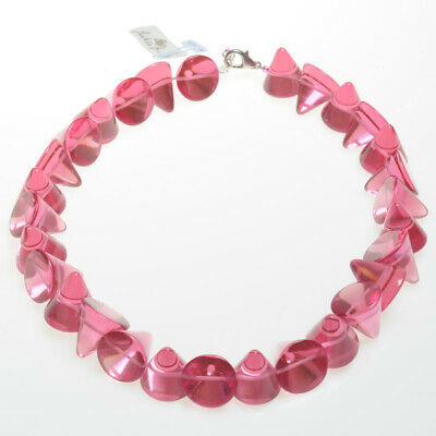 Jackie Brazil Large Cones 53cm Resin Necklace In Transparent Pink N61 (5526) • 59.99£