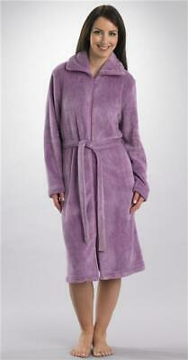Sale Luxury Supersoft Zip Dressing Gown With Tie Belt By Slenderella Navy Grey • 17.50£