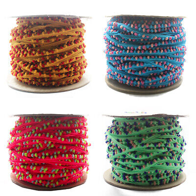 Mini Pom Pom Bobble Trim Quality Pompom Trimming Tiny Fringe DIY Craft Per Metre • 1.79£