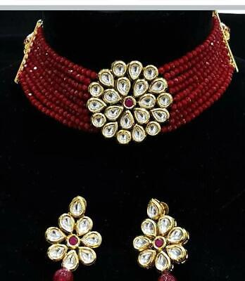 $24.29 • Buy Bollywood Indian Wedding Red Pendant Choker Necklace Earring Set Fashion Jewelry
