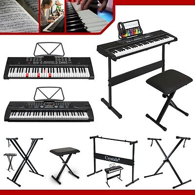 Double Braced Height Adjustable X Frame Music Piano Keyboard Stand & Bench Chair • 10.86£