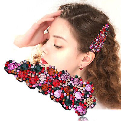 $1.39 • Buy 2PCS Women's Crystal Snap Hair Clips Pin Hairpin Slide Grip Barrette Accessories
