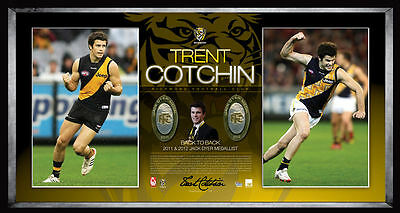 AU295 • Buy Richmond Tigers Trent Cotchin Hand Signed Framed Jack Dyer Medall Print Martin