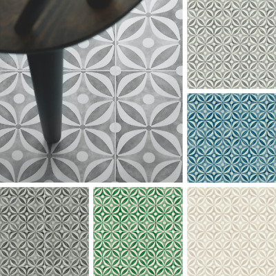 Cement Tile Effect Cushioned Sheet Vinyl Flooring Kitchen & Bathroom Lino Roll • 44.97£
