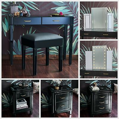 £79.99 • Buy Black Glass Mirrored Bedroom Furniture - Dressing Table Sets And Bedside Tables