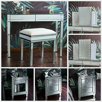 £129.99 • Buy Glass Mirrored Bedroom Furniture-Dressing Table, Stool, Mirrors & Bedside Tables