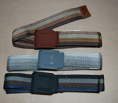 $21.93 • Buy BOYS 3 Lot CANVAS CORDED BELT Black Gray Brown Striped 42  Long Adjustable *