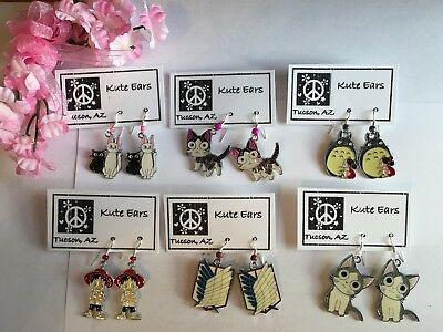 $7.15 • Buy Silvertone Various Anime Chi, Luffy, Luna, Totoro, Titan Shield Dangle Earrings