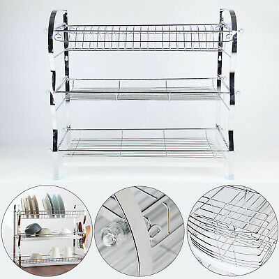 3 Tier Steel Dish Drainer Plates Glass Cutlery Cups Rack Holder Drip Tray Fast • 11.69£