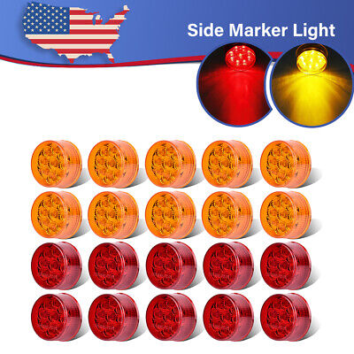 20X Amber+Red LED Truck RV Trailer Van 2  Round Clearance Side Marker Light 12V • 62.10$