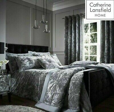 £19.99 • Buy Catherine Lansfield Silver Crushed Velvet Quilt Cover Bedding Set & Accessories