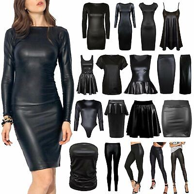 New Ladies Womens PU Leather Wet Look Pencil Skirt Bodycon Dress PVC Top Legging • 6.99£