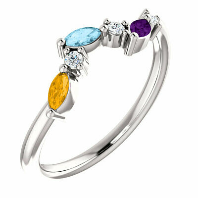 $80 • Buy Marquise Family Ring Sterling SILVER Mother's Birthstone Jewelry 1-6 Stones