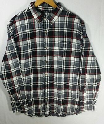 a6729197b801 Chaps Mens Red Black White Plaid Brushed Flannel Shirt Size XL Long Sleeve  Polo • 22.00
