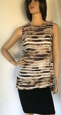 $ CDN17.01 • Buy W BY WORTH 100% Linen Tunic Top Size 8 Sleeveless Striped