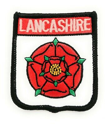 LANCASHIRE RED ROSE COUNTY Embroidered Sew On Patch Approx 70mm FREE UK Delivery • 4.49£