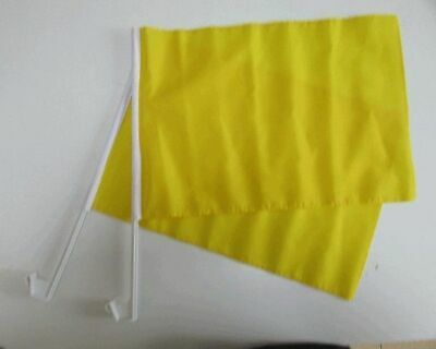 PLAIN YELLOW Car Window Flag 2 Pack.  FREE UK Delivery! • 11.99£