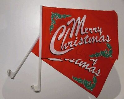 MERRY CHRISTMAS Car Window Flag 2 Pack.  FREE UK Delivery! • 11.99£