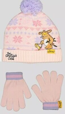 Age 6, 7, 8, 9 The Gruffalo's Child Hat And Gloves Pink & Lilac Fairisle Design • 9.99£