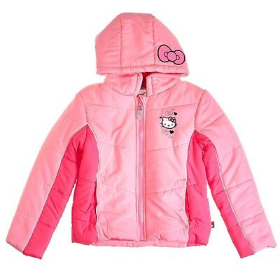 f61e326f6 Hello Kitty Girls Color Block Puffer Coat With Hood, Pink, Size: 4,