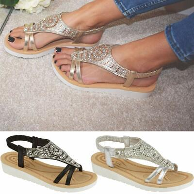 Ladies Memory Foam Low Wedge Sandals Summer Beach Fashion Strappy Gladiator Shoe • 10.95£