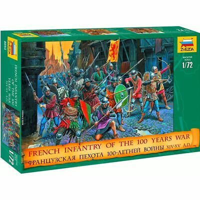 Zvezda 8053 French Infantry 100 Year War XIV-XV A.D. (43 Figures, 12 Poses) 1/72 • 3.36£
