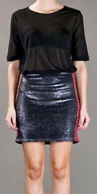 $ CDN132.31 • Buy Iro Colinne Black & Red Metallic Sequin Stretch Jersey Mini Skirt 0/xs