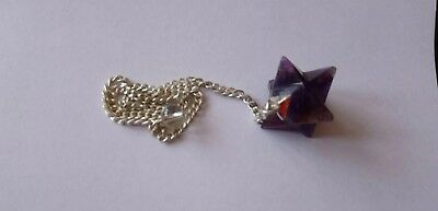 Reiki Energy Charged Natural Amethyst Crystal Merkaba Pendulum Uk • 6.99£