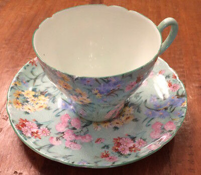 Shelley England #13453 Melody Chintz & Pastel Green Multi Floral Cup & Saucer • 43.89£
