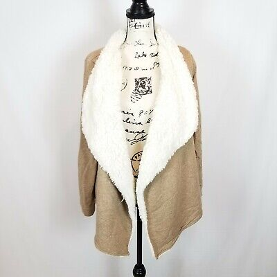 NEW Label Of Graded Goods H&M Tan Long Sleeve Sweater/Jacket/Cardigan LARGE • 28$