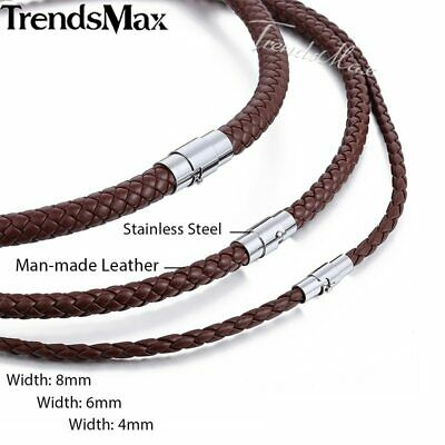 £5.99 • Buy  4mm BROWN BRAIDED LEATHER  CORD NECKLACE STAINLESS STEEL TWISTED MAGNETIC CLASP