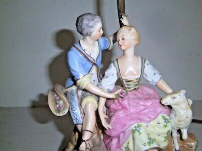 $ CDN115.40 • Buy Antique Dresden Porcelain Lamp Courting Couple Figurine Lamb Pastoral Germany