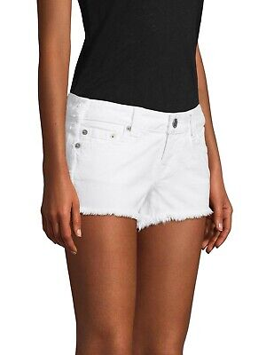 $169 Authentic Rare TRUE RELIGION Women's Keira Fray White Cut Off Jeans Shorts • 33.30£