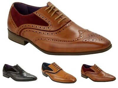 Mens Casual Formal Office Work Lace Up Oxford Brogue Gatsby Two Tone Shoes Size • 20.95£