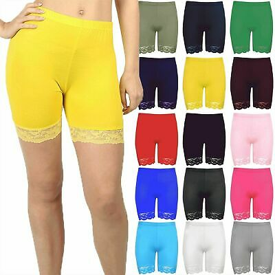 Womens Cycling Shorts Ladies Hot Pants Scallop Lace Trim Jersey Gym Bike Tights • 4.29£