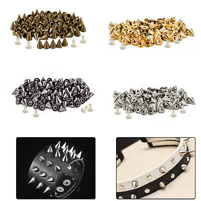 50pcs X 8mm Brass Punk Cone Studs Spike Rivet With Pins For DIY Leather Crafts • 5.29£